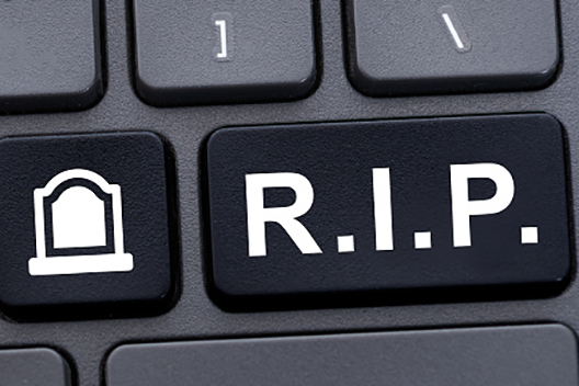 Online memorial concept with R.I.P. abbreviation